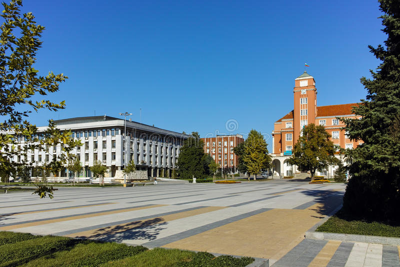 Panoramic view of Central square in City of Pleven. Bulgaria royalty free stock photography