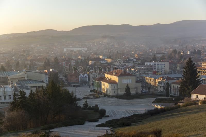 Panoramic view of Central square of Historical town of Panagyurishte, Pazardzhik Regi. PANAGYURISHTE, BULGARIA - DECEMBER 13, 2013: Panoramic view of Central royalty free stock image