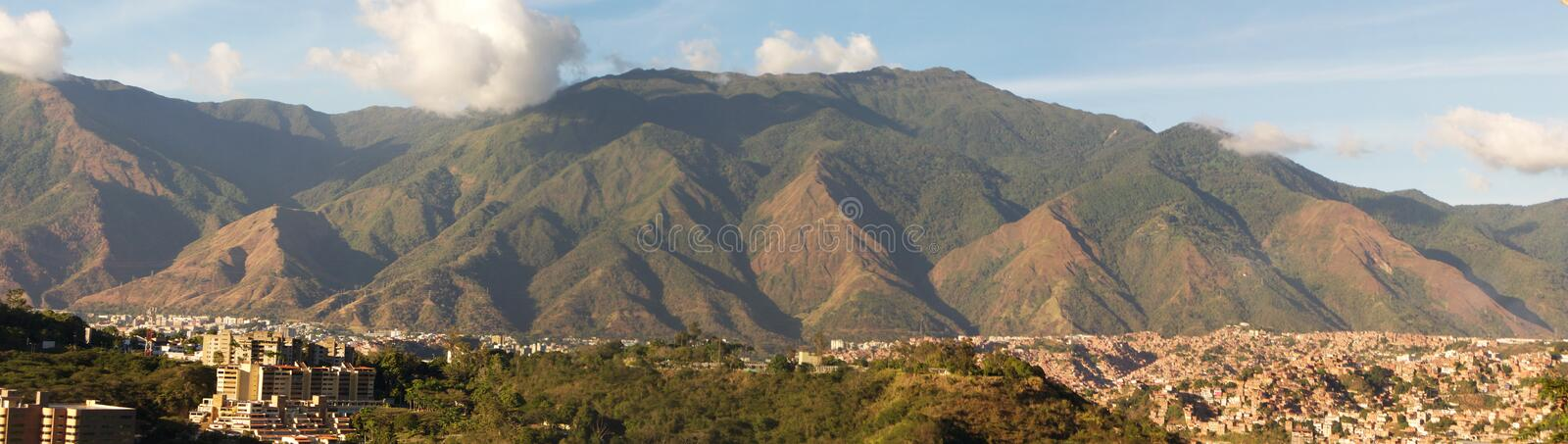 Panoramic view of Caracas and cerro El Avila National Park, famous mountain in Venezuela royalty free stock photography