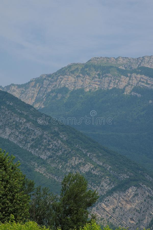 Panoramic view of Chartreuse mountains in the Alps, Isère, France stock images