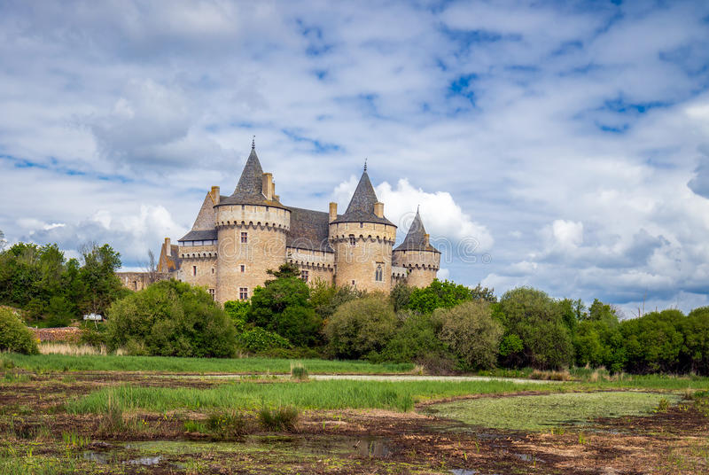 Panoramic view of Chateau de Suscinio in Gulf of Morbihan, Britt royalty free stock images