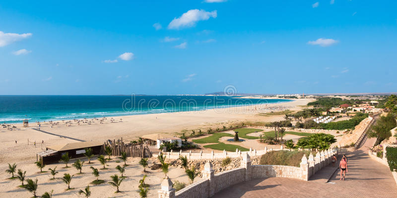 Panoramic view of Chaves beach Praia de Chaves in Boavista Cape. Verde Cabo Verde stock images