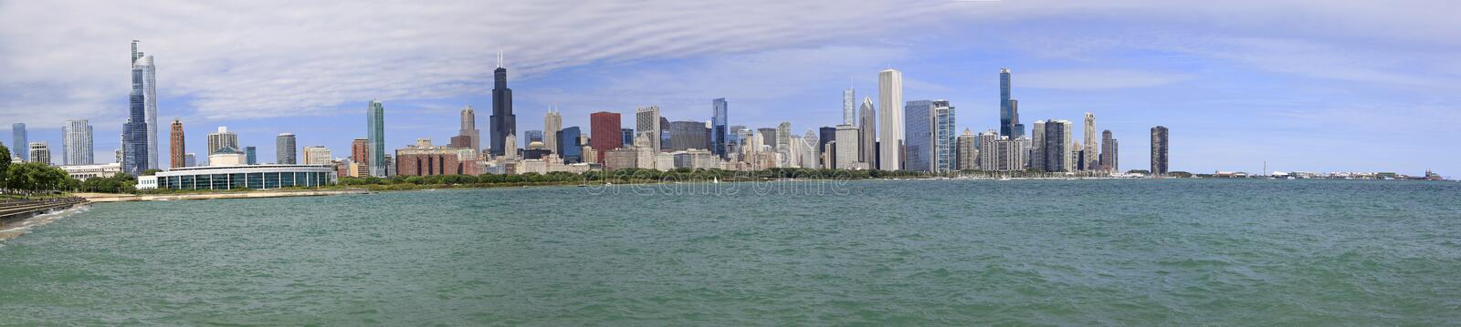 Panoramic view of Chicago skyline with Lake Michigan on the foreground. IL, USA royalty free stock photos