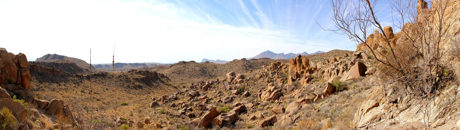 Panoramic view of the Chihuahuan Desert in Big Bend National Park, USA stock image