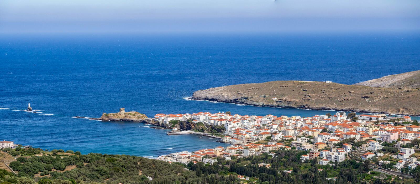 Panoramic view of the Chora of Andros ,Greece at daytime.  stock image