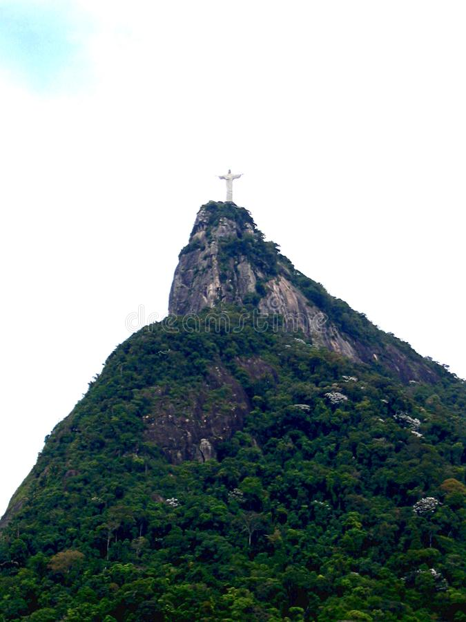 Panoramic view of the Christ the Redeemer in Rio de Janeiro royalty free stock photography