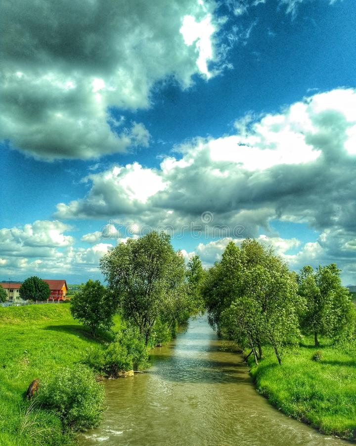 Panoramic view of Cibin River. In the summer royalty free stock photo