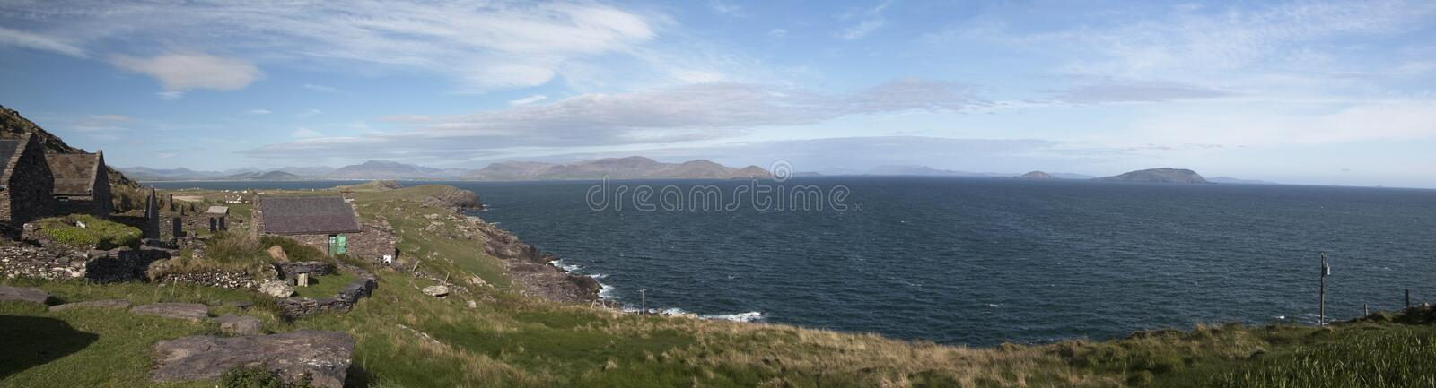Panoramic view from Cill Rialaig artists colony stock images