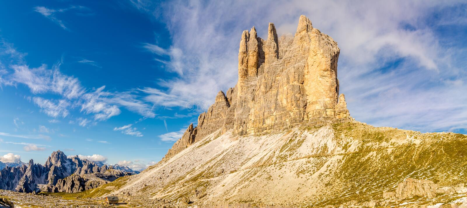 Panoramic view at the Cima Piccola 2857m Tre Cime di Lavaredo in South Tirol Dolomites - Italy. Panoramic view at the Cima Piccola 2857m Tre Cime di Lavaredo in stock photography