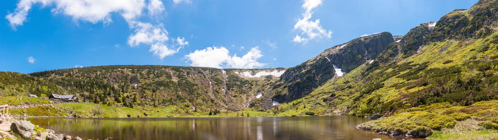 Panoramic view on Cirque of the Small Pond. Cirque of the Small Pond in Krkonosze National Park. Samotnia refuge, one of the oldest mountain refuges in Poland royalty free stock images