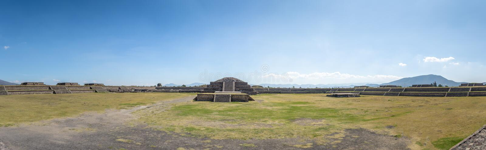 Panoramic view of Citadel and Quetzalcoatl Pyramid at Teotihuacan - Mexico City, Mexico royalty free stock images