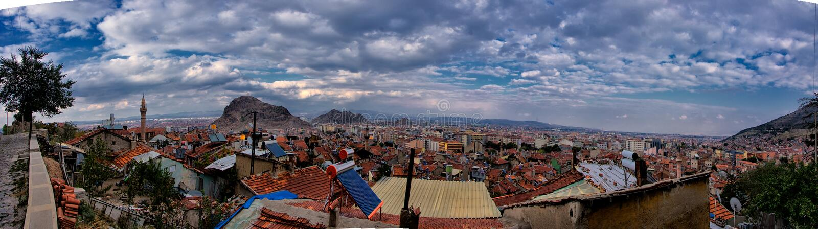 Panoramic view of the city Afyonkarahisar stock photography