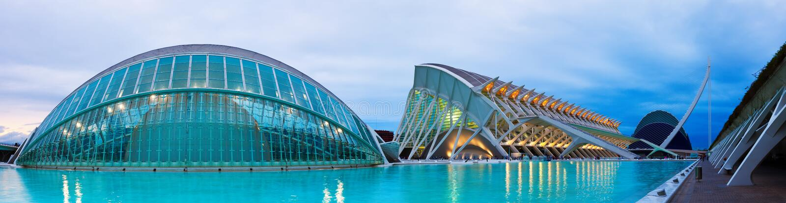 Panoramic view of City of Arts and Sciences in evening time stock photo