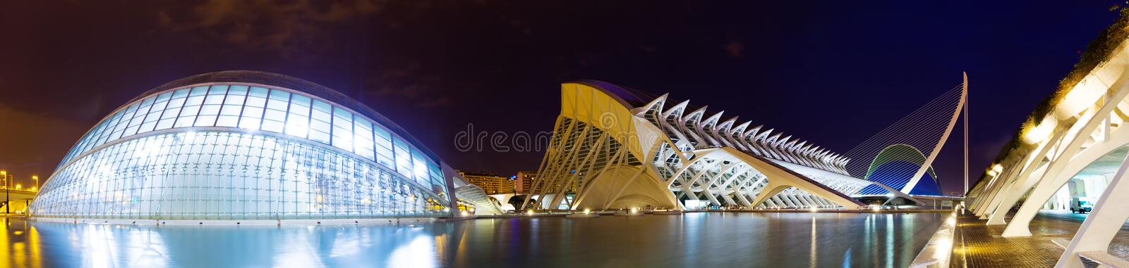 Panoramic view of City of Arts and Sciences in night royalty free stock photos