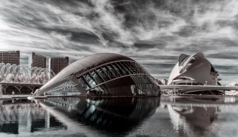 Panoramic view of City of Arts and Sciences, Valencia, Spain. stock photo