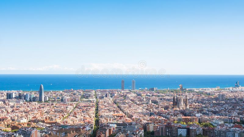 Panoramic view of the city of Barcelona from the Carmel`s bunker stock photos