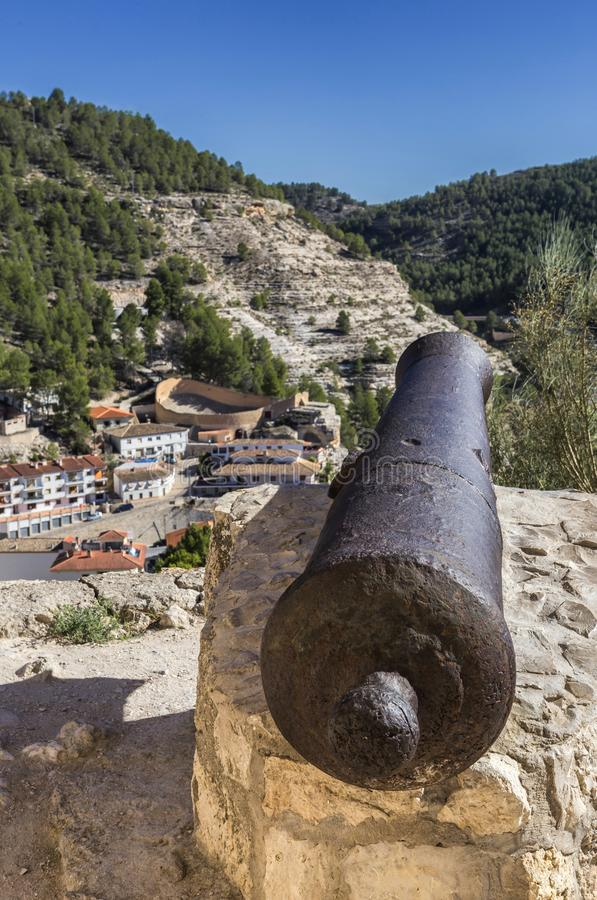 Panoramic view of the city, at the bottom of the bullring in the. Alcala del Jucar, Spain - October 29, 2016: Panoramic view of the city, at the bottom of the stock image