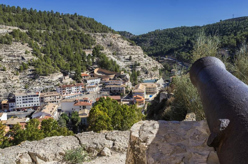 Panoramic view of the city, at the bottom of the bullring in the. Alcala del Jucar, Spain - October 29, 2016: Panoramic view of the city, at the bottom of the royalty free stock photography