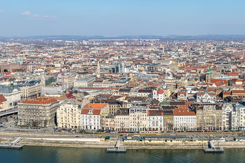 Panoramic view of the city at the center of Budapest set of roofs along the Danube River on a sunny afternoon. Budapest Hungary Ma. Rch 2018 stock images