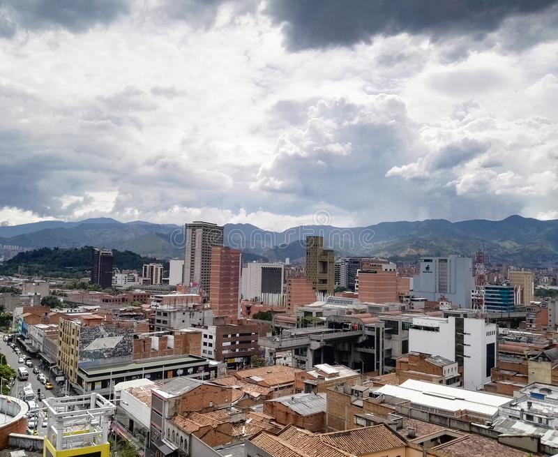 Panoramic view of Medellin, Colombia, downtown with buildings and metro station royalty free stock photos