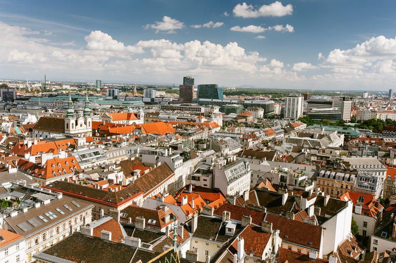 Panoramic view of city center Vienna royalty free stock images