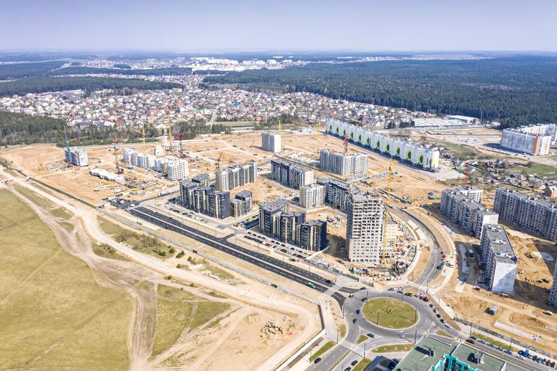 Panoramic view of city construction site. development of new residential area stock image