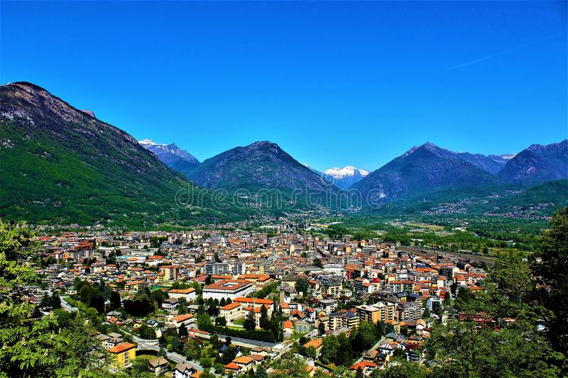 Panoramic view of the city of Domodossola,Italy stock photo