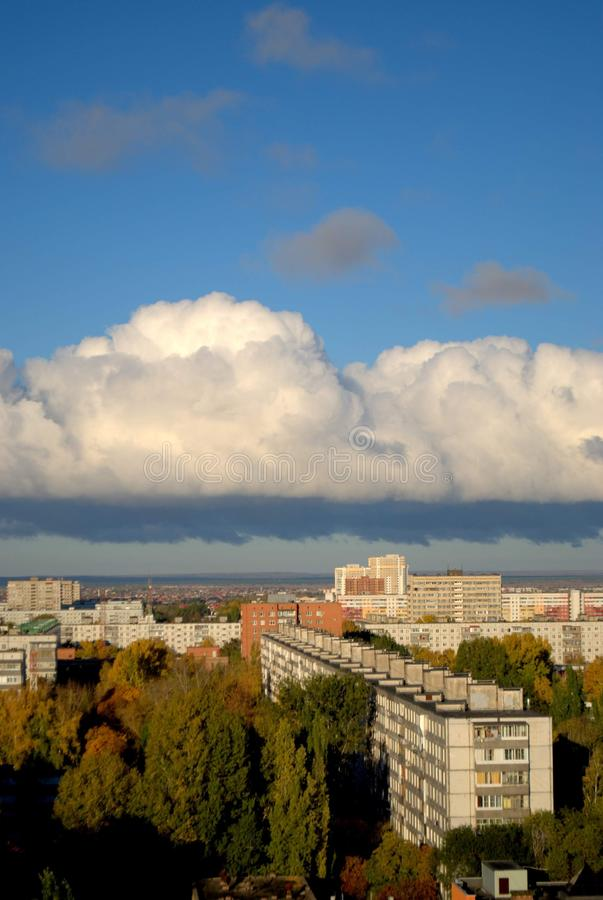 Panoramic view of the city in the early autumn morning from the height of the 14th floor of a residential building. Panoramic view of the city of Togliatti in royalty free stock image