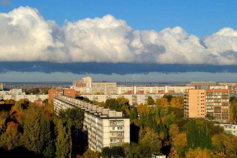 Panoramic view of the city in the early autumn morning from the height of the 14th floor of a residential building. Panoramic view of the city of Togliatti in royalty free stock photo