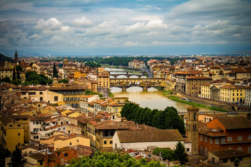 Beautiful buildings from the Renaissance period next to the river royalty free stock photo