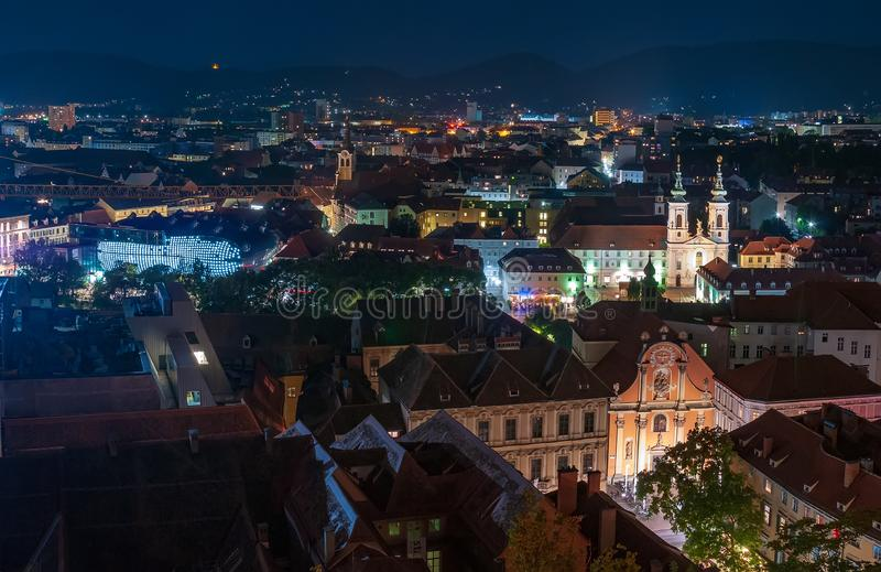 Panoramic view of the city of Graz, Austria at night royalty free stock image