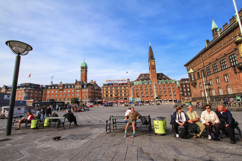 Panoramic view of City hall square with Palace Hotel in Copenhagen stock image