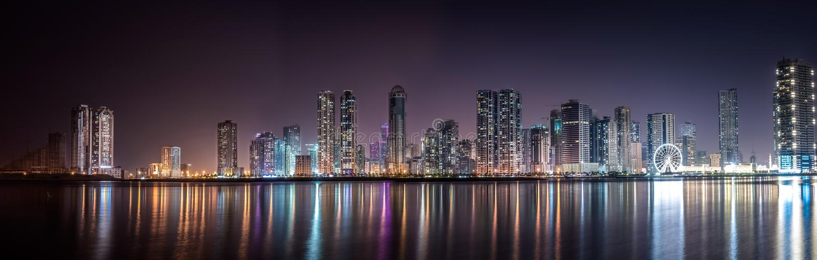 Panoramic View Of City Lit Up At Night Free Public Domain Cc0 Image