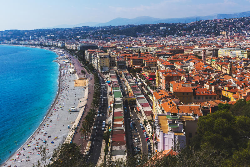 A panoramic view of the city of Nice, France french Riviera. royalty free stock photos