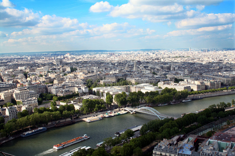 Panoramic view of the city of Paris, France stock images