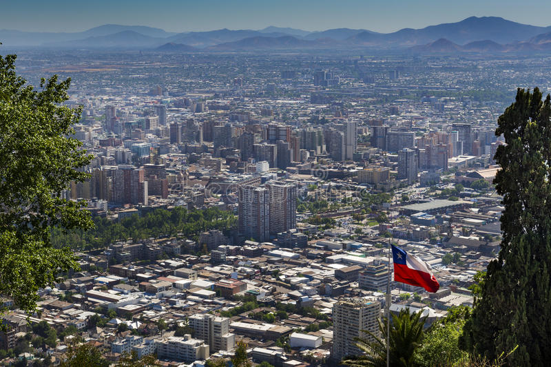 Panoramic view of the city of Santiago de Chile from the San Cristobal Hill Cerroo San Cristobal in Chile. South America royalty free stock photo
