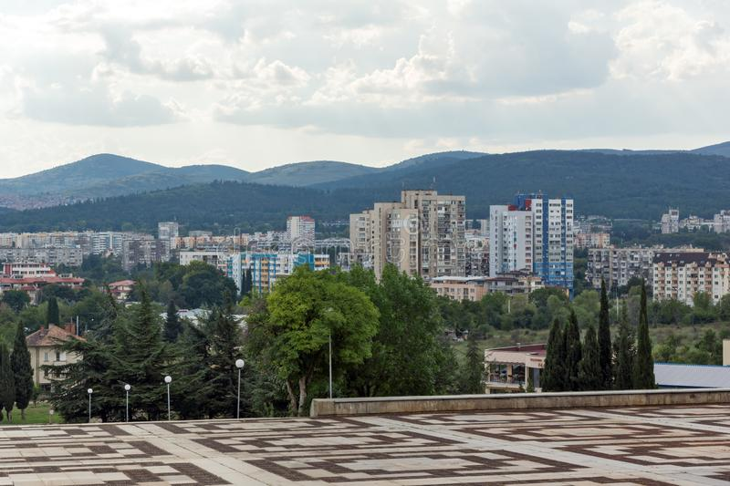 Panoramic view of city of Stara Zagora, Bulgaria stock photo