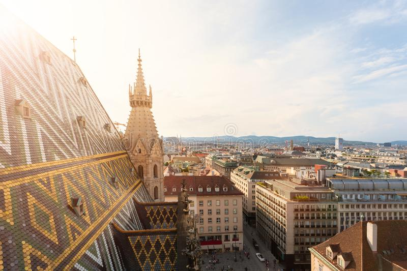 View of the city from the observation deck of St. Stephen`s Cathedral in Vienna, Austria stock images
