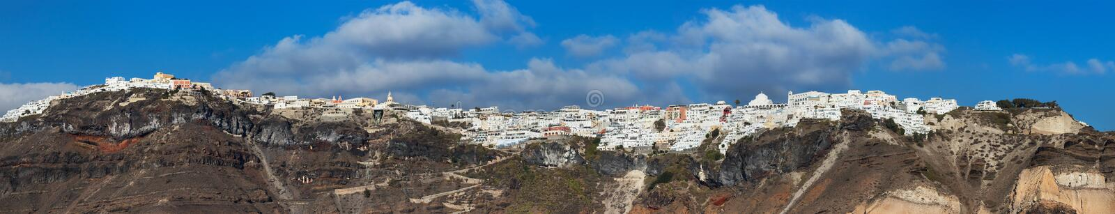 Panoramic view of the city of Thira in Santorini, Geece royalty free stock photography