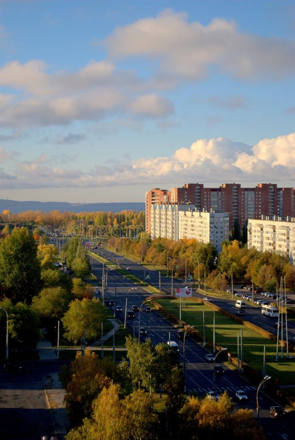 Panoramic view of the city of Togliatti in the early autumn morning overlooking Stepan Razin Avenue. The shot was taken from the height of the 14th floor of a stock photos