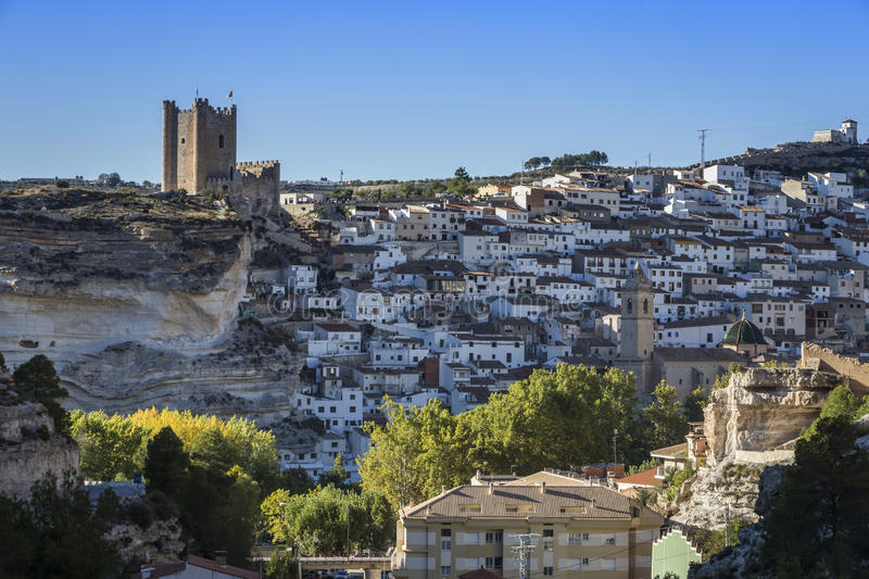 Panoramic view of the city, on top of limestone mountain is situated Castle of the 12TH century Almohad origin, take in. Alcala del Jucar, Spain - October 29 royalty free stock photos