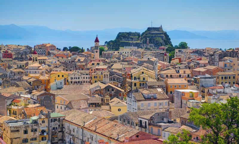 Panoramic view on classical Greek old houses buildings architecture of Greece Corfu island capital Kerkyra. Greece holidays vacati stock photos