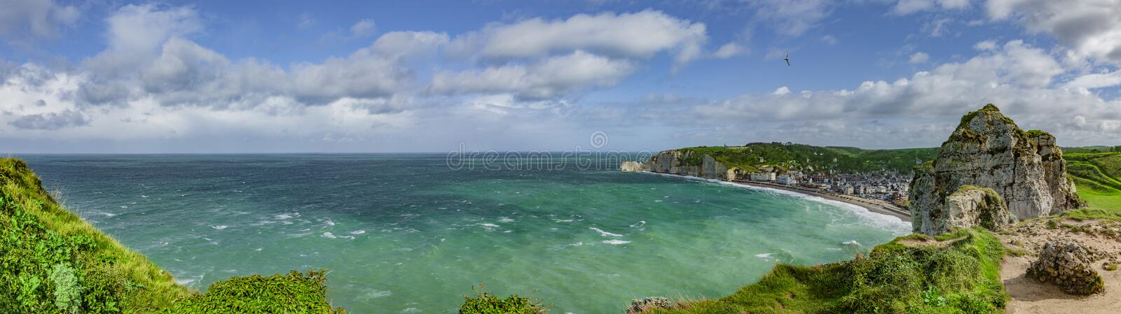 Panoramic view of the Cliffs of Normandy stock photography
