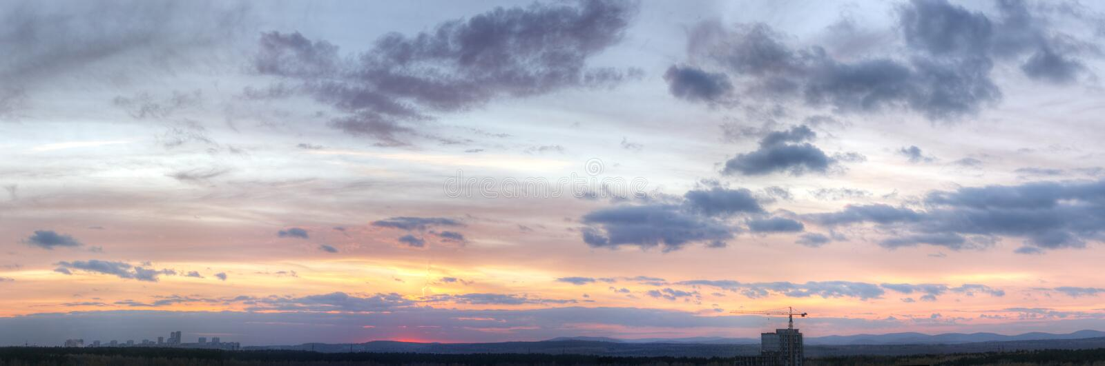 Panoramic view of cloud sky. A panoramic view of cloud sky stock photography