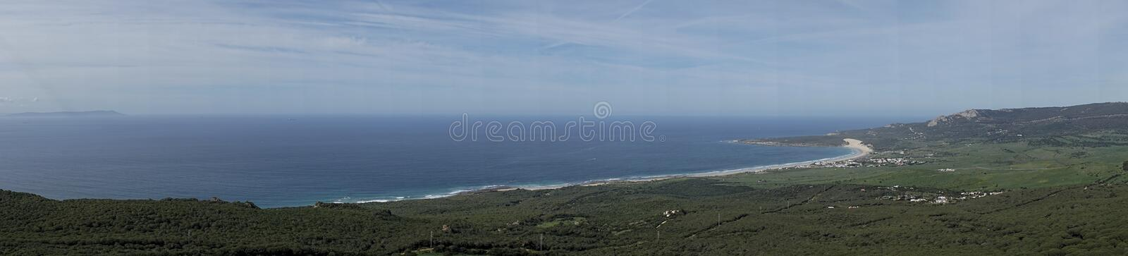 Beautiful unspoiled beach of the Coast of Tarifa in the province of cadiz, andalusia, spain. Panoramic view of the coast of Bologna, Tarifa stock image
