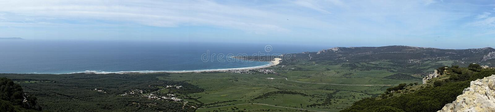 Beautiful unspoiled beach of the Coast of Tarifa in the province of cadiz, andalusia, spain. Panoramic view of the coast of Bologna, Tarifa royalty free stock photos