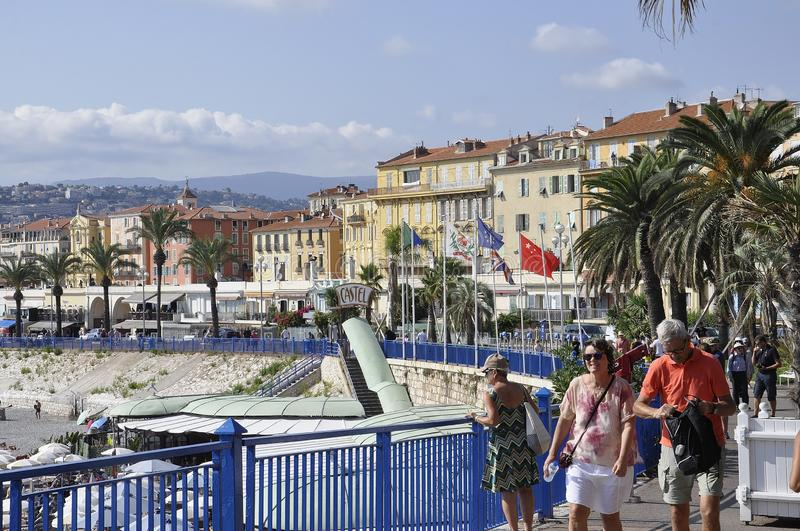 Nice, 5th september: Panoramic view of the Coast of Nice of French Riviera royalty free stock photography