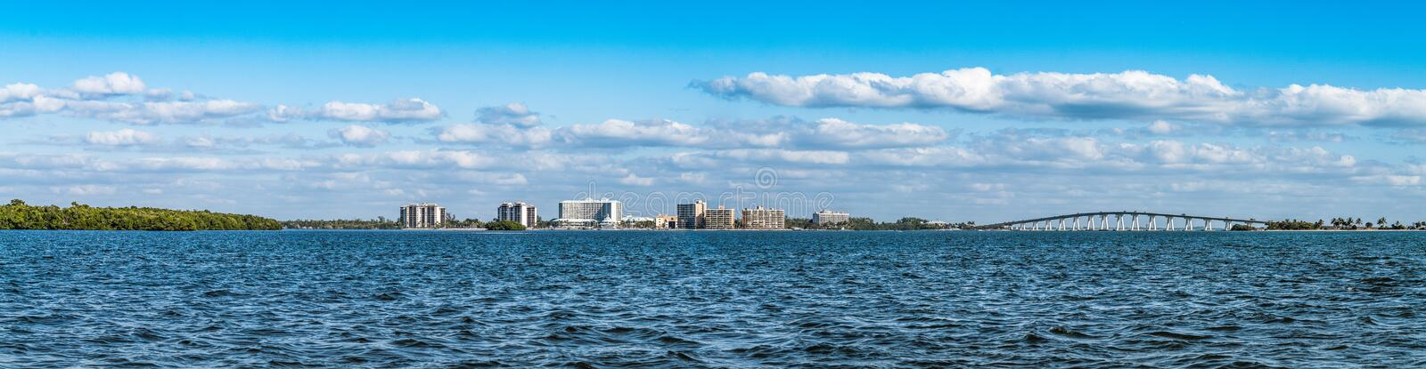 Panoramic view of coastal areas in Punta Rassa landscape. In Cape Coral - Fort Myers, Metropolitan Area, Lee County, Florida, United States. census-designated stock images