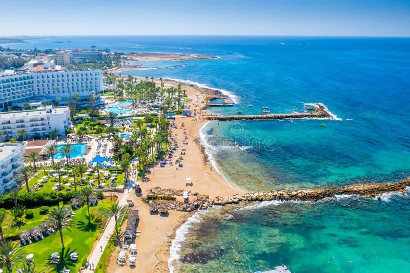 Panoramic view of the coastal resort in Geroskipou area, Paphos. Cyprus.  stock photos
