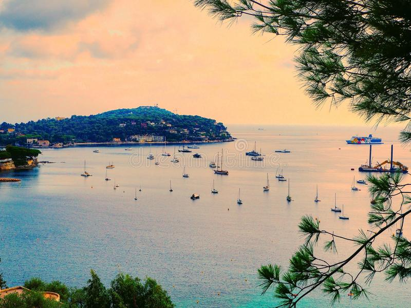 Panoramic view of coastline and beach luxury resort. Bay with yachts, Nice port, Villefranche-sur-Mer, Nice, Cote d`Azur, French stock image